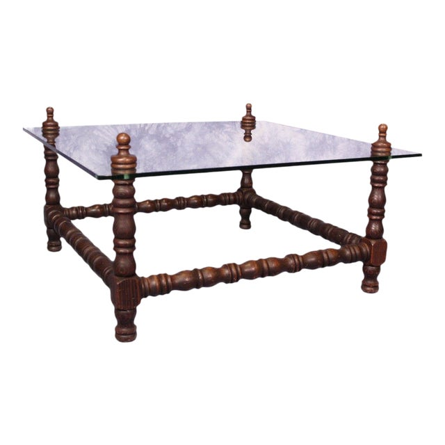 Baroque Turned Wood Glass Top Table - Image 1 of 8