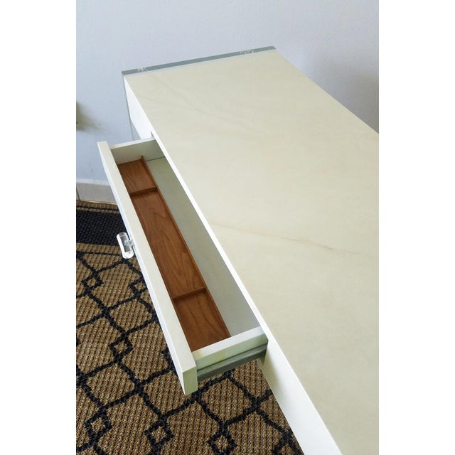 Faux Goat Skin Finish Lucite Wood Desk For Sale - Image 4 of 11