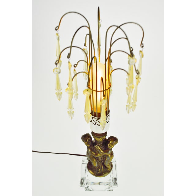 Hollywood Regency Cherub Waterfall Prism Accent Lamp Condition consistent with age and history. Patina was been...