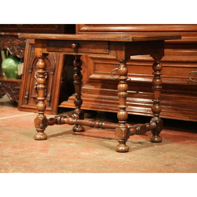 Red 19th Century, French, Louis XIII Carved Walnut Table Desk With Red Leather Top For Sale - Image 8 of 11