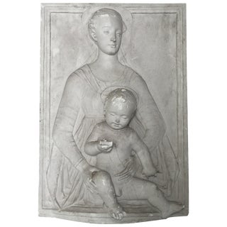 Lovely Antique Madonna and Child Bas Relief From Belgian Castle For Sale