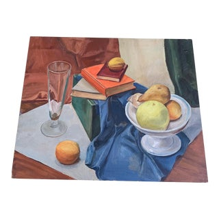 1940s Still Life Fruit and Books Oil on Wood Painting by Kubach For Sale