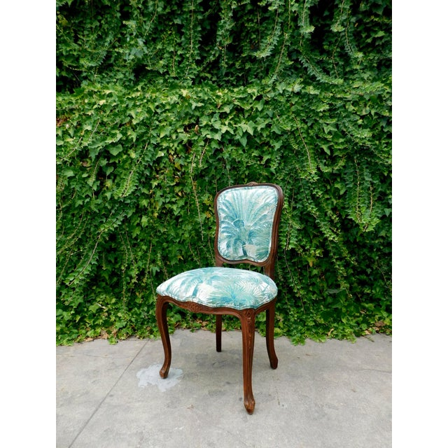 This chair is vintage Italian. The frame is from the 1960's . The New fabric give this chair the botanical feel. This...