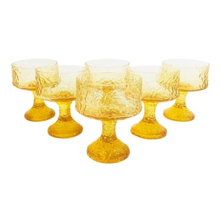 Vintage Yellow Crystal Impromptu Coupe Glasses by Lenox - Set of 6