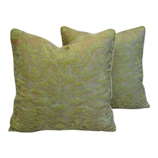"Italian Fortuny Green & Gold Corone Feather/Down Pillows 24"" Square- Pair For Sale"