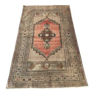 1940s Distressed Antique Handwoven Oushak Rug - 3′4″ × 5′8″ For Sale