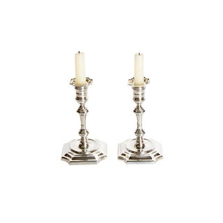 Pair of George II Style Sterling Silver Candlesticks by Cartier For Sale
