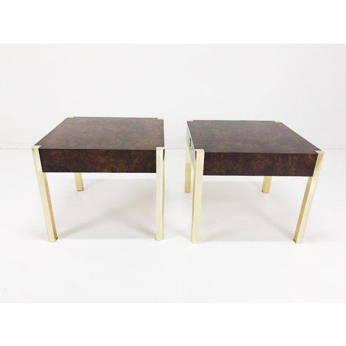 Brass 1970's Burl Wood and Brass Tables - a Pair For Sale - Image 7 of 10