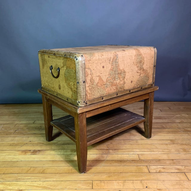 Brown Leather Travel Suitcase Storage Box on Frame, 20th Century For Sale - Image 8 of 12