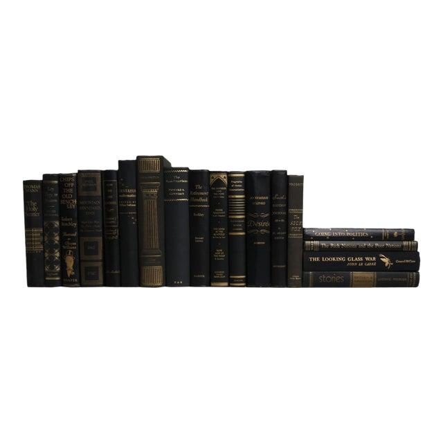 Midcentury Mix: Gilt on Black Book Set, S/18 For Sale