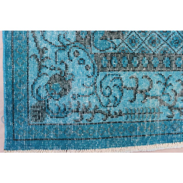 Turkish Over-Dyed Turquoise Rug - 5′5″ × 9′3″ - Image 6 of 11