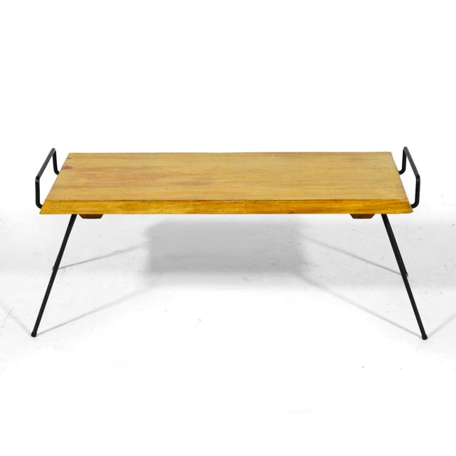 Industrial Wood Bench / Table With Iron Legs For Sale - Image 3 of 11