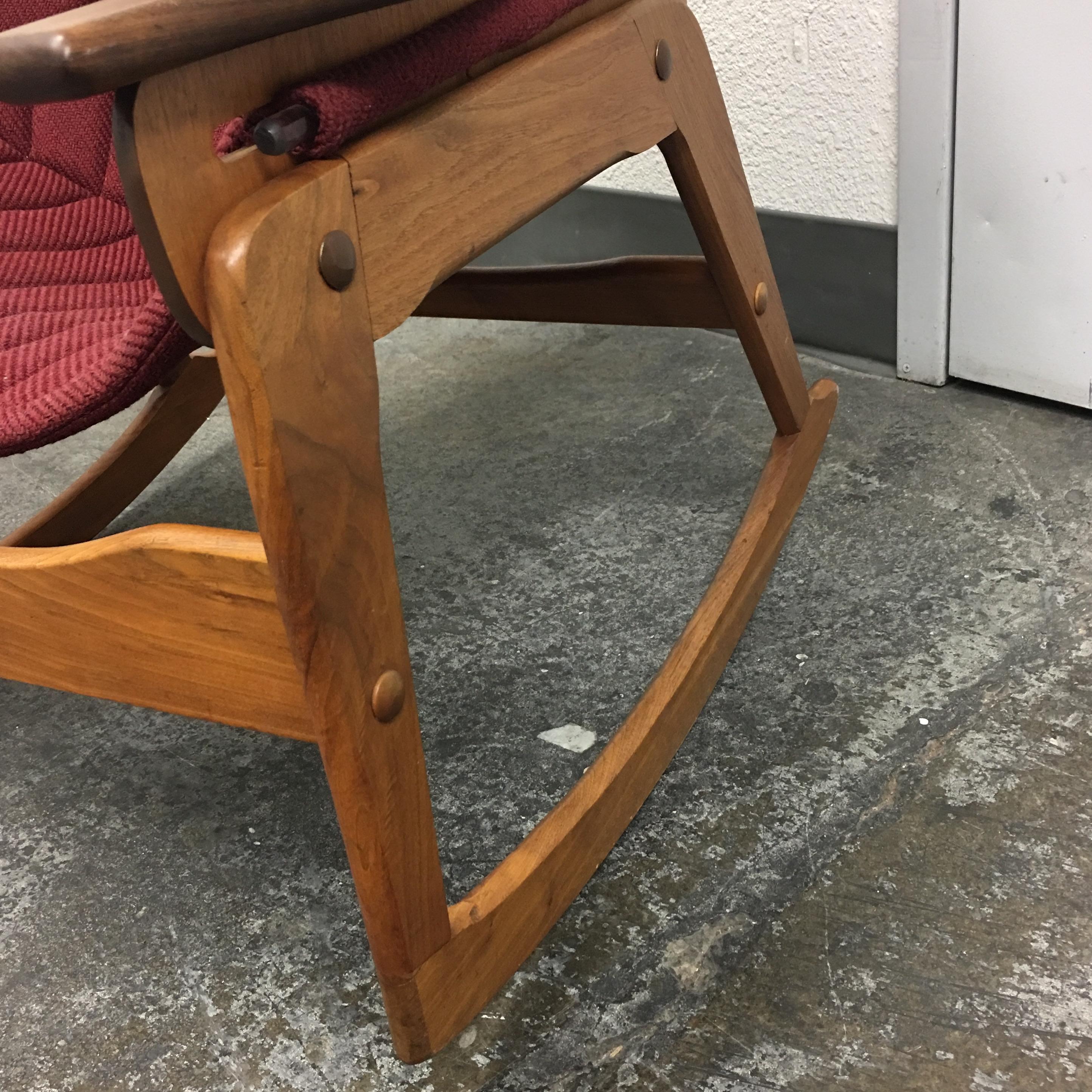 Jerry Johnson Mid Century Walnut U0026 Red Wool Sling Rocking Chair   Image 7 Of