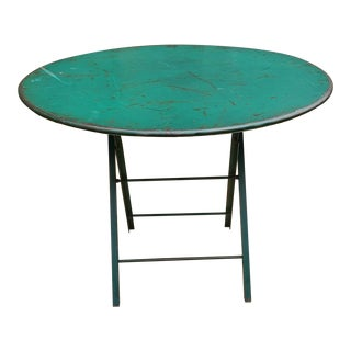 1930s Vintage Green Iron Folding Parisian Bistro Table For Sale