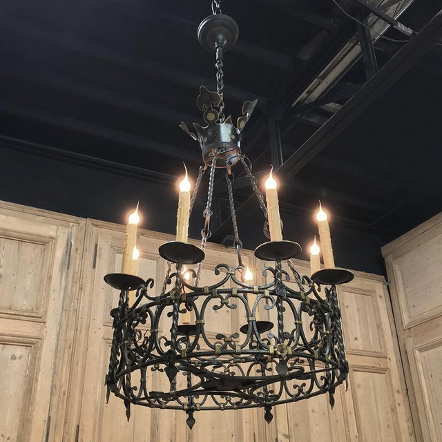 Antique Country French Wrought Iron Chandelier For Sale - Image 11 of 11