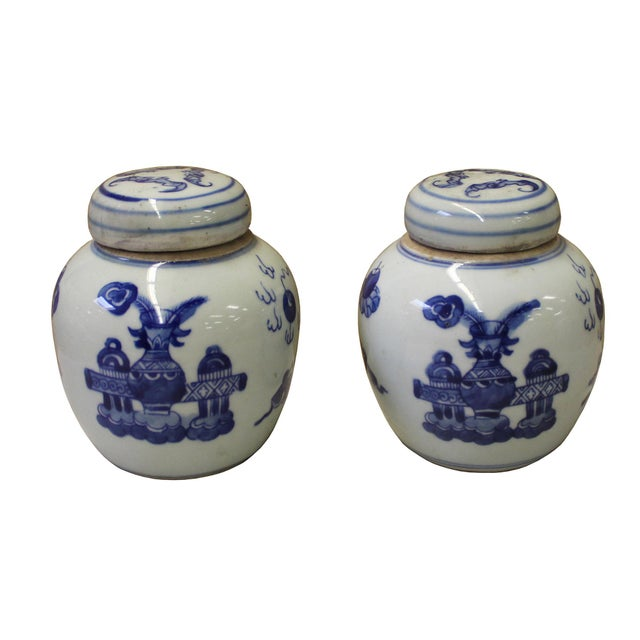 Pair Blue White Small Oriental Graphic Porcelain Ginger Jars - Image 3 of 6