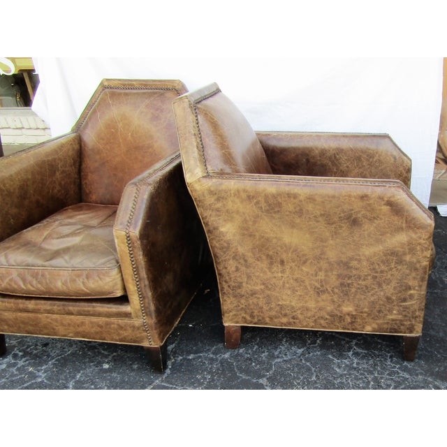 Italian 1980s Vintage Italian Leather Accent Chairs - A Pair For Sale - Image 3 of 6