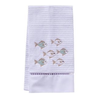Aqua School of Fish Guest Towel in White Waffle Weave, Ladder Lace & Embroidered For Sale