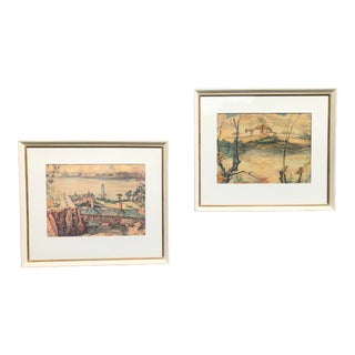 1950s Limited Reproduction Prints by Canadian Artist Nicholas Hornyansky, Framed - Set of 2 For Sale