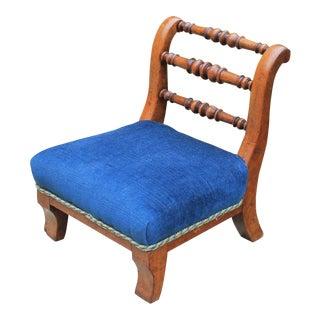 Antique English Walnut Slipper Chair Foot Stool Blue Velvet For Sale