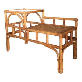 Vintage Bamboo Telephone Bench