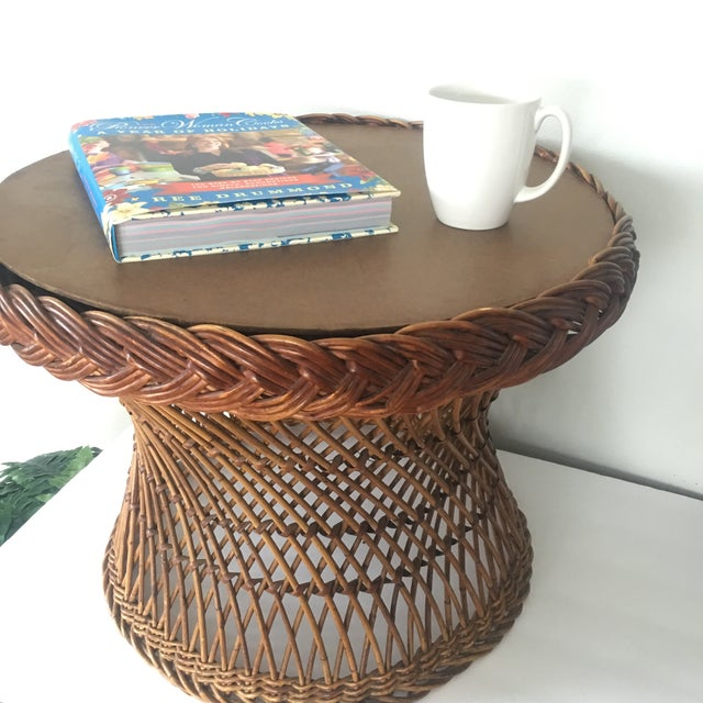 Vintage Bielecky Brothers Boho Rattan Round Coffee / Side Table For Sale - Image 11 of 13