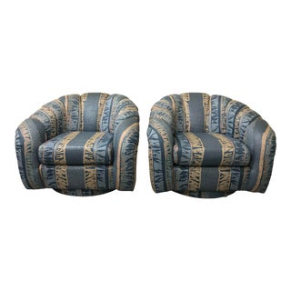 1980s Channel Back Swivel Chairs - a Pair For Sale