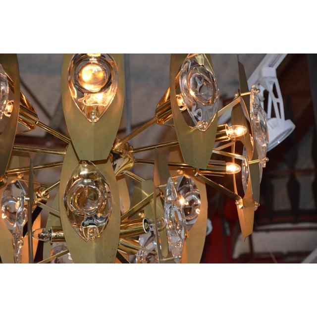 Brutalist Sonneman Brass and Cut Glass Chandelier - Image 4 of 6