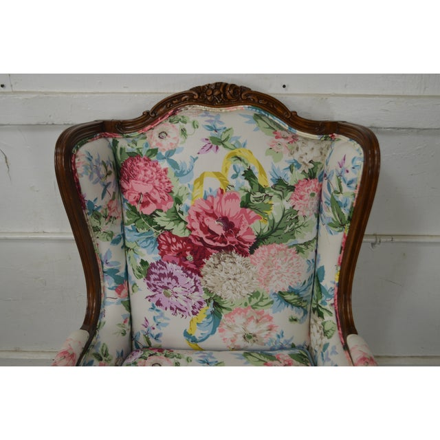 Meyer Gunther Martini Custom Floral Upholstered French Louis XV Style Bergere Wing Chair For Sale - Image 10 of 11