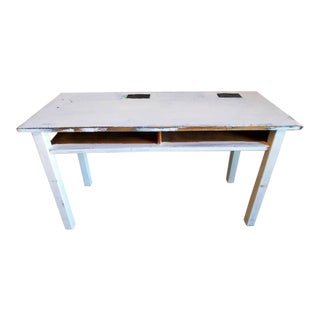 Mid-Century Distressed Painted White Desk For Sale