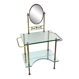 Vintage Art Deco Glass and Bronze Dressing Vanity For Sale