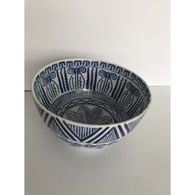 Vintage Blue and White Patterned Ceramic Bowl For Sale - Image 5 of 9