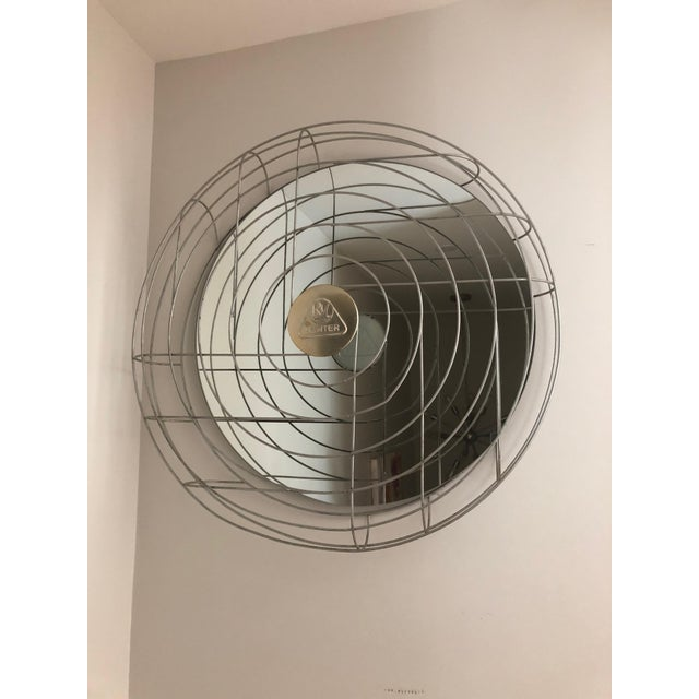 Gray Industrial Fan Cage Mirror For Sale - Image 8 of 8