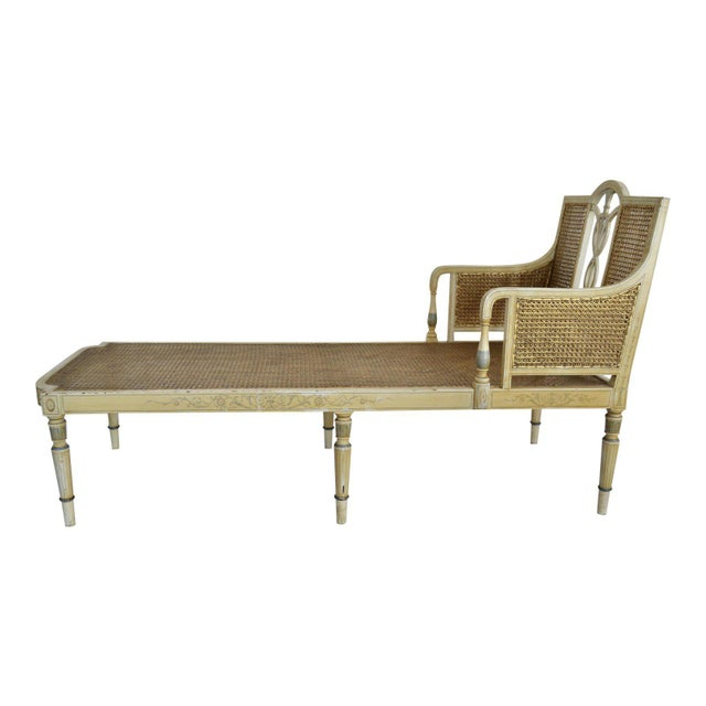 1905 Neoclassical Adams Painted Caned Chaise For Sale - Image 10 of 10