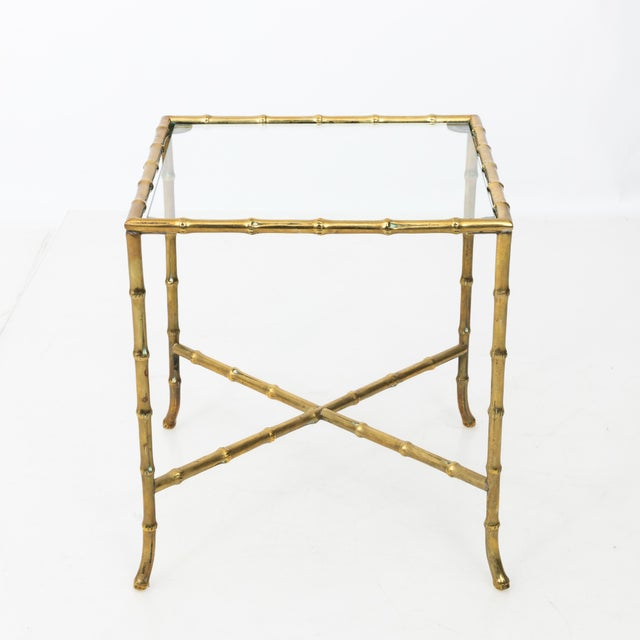 1960s Hollywood Regency Solid Brass Faux Bamboo Side Table For Sale - Image 10 of 11