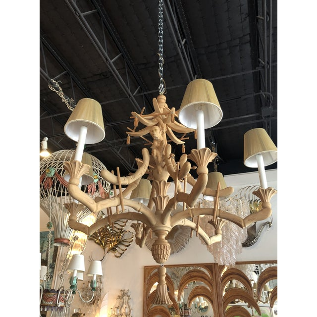 Vintage Chinoiserie Tropical Palm Beach Carved Wood Pagoda Monkey Tassels Bells Chandelier For Sale - Image 9 of 13