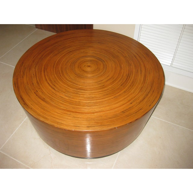 """Mid-Century Modern Round Drum Low Table 30"""" For Sale - Image 12 of 12"""