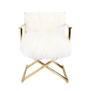 Pasargad Home Mongolian Fur and Paris Director's Chair For Sale