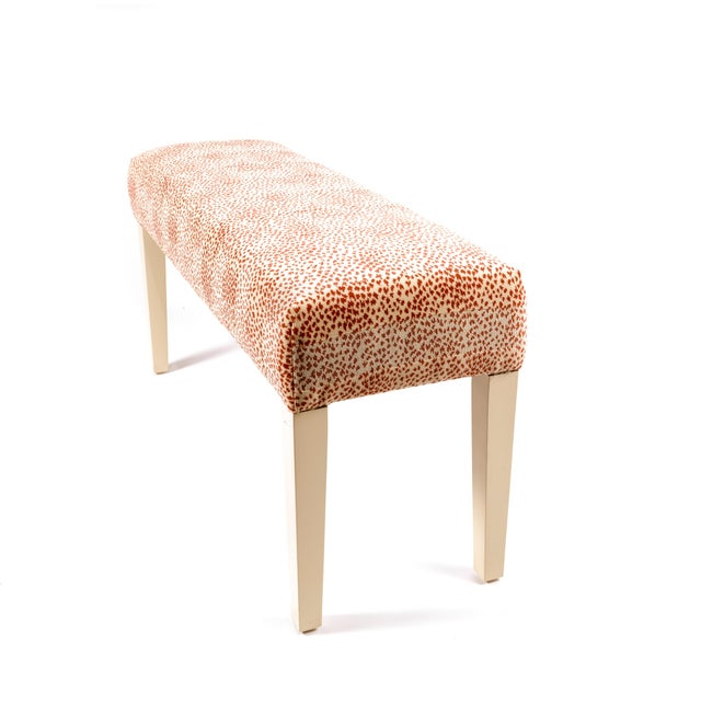 NEW : Wooden bench upholstered in fabric. Made in Canada
