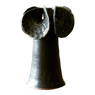 Modernist Black Ikebana Flower Ceramic Vase For Sale