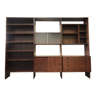 1970s Danish Modern h.g. Denmark Rosewood Freestanding Wall Unit For Sale