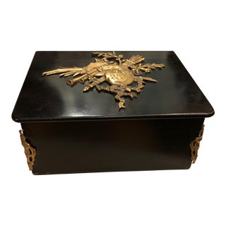 Rare Antique Louis Phillipe Dore Bronze Mounted Black Lacquer Box W/ Bagpipes For Sale
