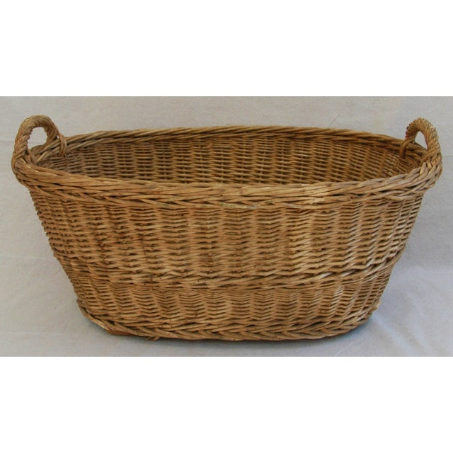 Early 1900s Woven French Country Market Basket - Image 2 of 8