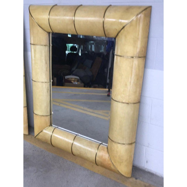 Large Modern Parchment and Brass Mirror For Sale - Image 4 of 9
