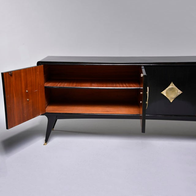 Italian Ebonised Sideboard With Brass Knobs For Sale - Image 11 of 13