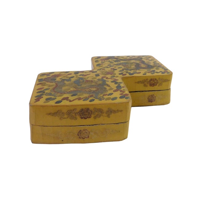 Yellow Lacquer Double Rhombus Painted Box - Image 3 of 7