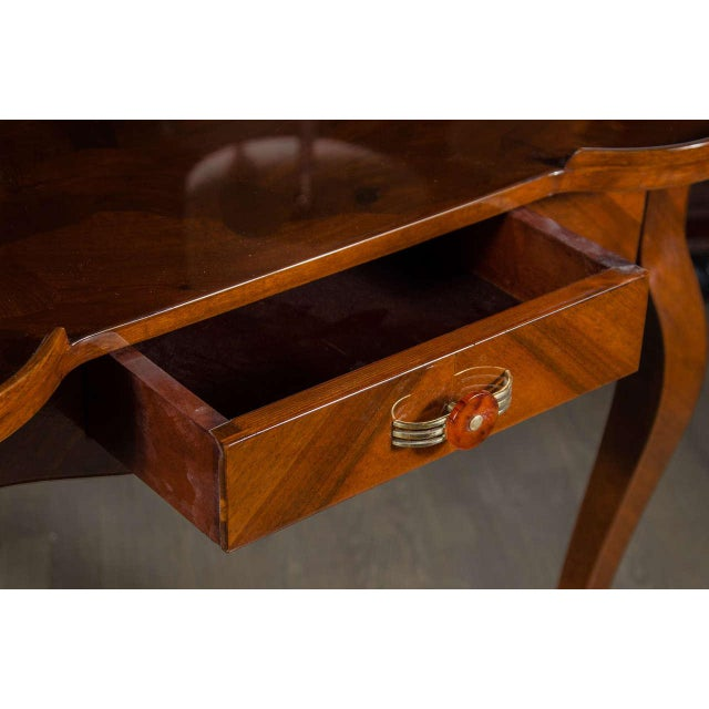 Exceptional Art Deco Game Table With Exotic Burled Walnut Inlay For Sale In New York - Image 6 of 11