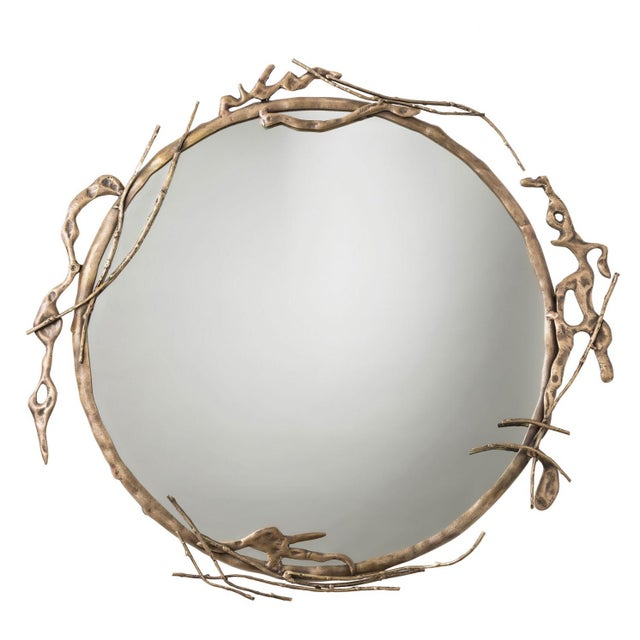 Transitional Arteriors Home Brass Ivy Wall Mirror For Sale - Image 9 of 9