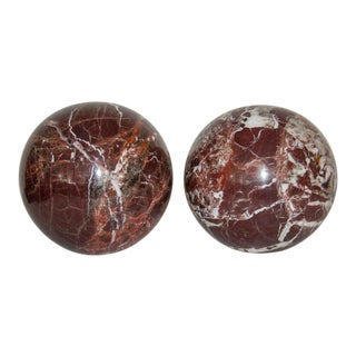 Rouge Royale Marble Spheres - a Pair