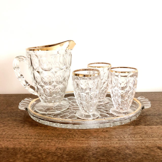 1920s 1920s Pressed Glass Cocktail Set For Sale - Image 5 of 5